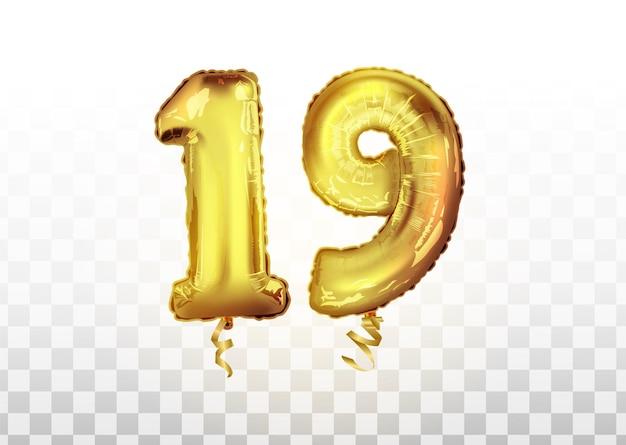 Wektor złota folia numer 19 dziewiętnaście balon metaliczny. strona dekoracji złote balony. znak rocznicy na szczęśliwe wakacje, uroczystości, urodziny, karnawał, nowy rok