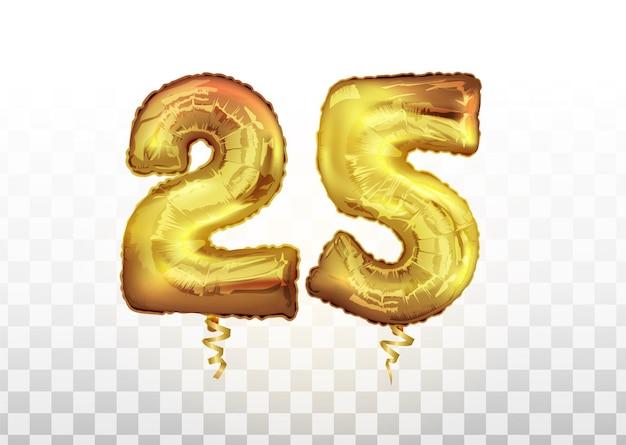 Wektor złota folia numer 25 dwadzieścia pięć balon metaliczny. strona dekoracji złote balony. rocznica znak na szczęśliwe wakacje, uroczystości, urodziny, karnawał, nowy rok. sztuka