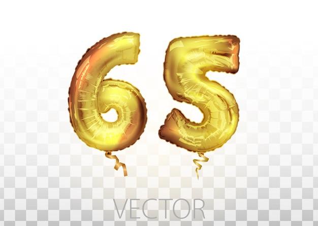 Wektor złota folia numer 65 sześćdziesiąt pięć balon metaliczny. strona dekoracji złote balony. znak rocznicy na szczęśliwe wakacje, uroczystości, urodziny