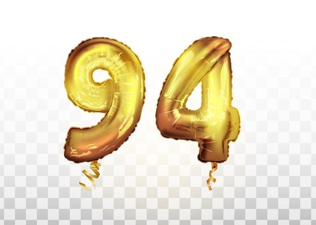 Wektor złota folia numer 94 dziewięćdziesiąt cztery balon metaliczny. strona dekoracji złote balony. znak rocznicy na szczęśliwe wakacje, uroczystości, urodziny