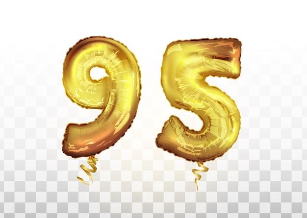 Wektor złota folia numer 95 dziewięćdziesiąt pięć balon metaliczny. strona dekoracji złote balony. znak rocznicy na szczęśliwe wakacje, uroczystości, urodziny