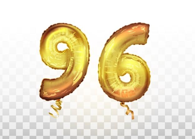 Wektor złota folia numer 96 dziewięćdziesiąt sześć balon metaliczny. strona dekoracji złote balony. znak rocznicy na szczęśliwe wakacje, uroczystości, urodziny, karnawał