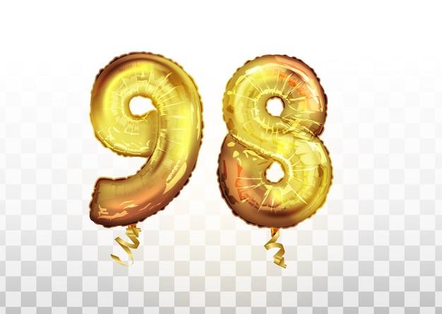 Wektor złota folia numer 98 dziewięćdziesiąt osiem balon metaliczny. strona dekoracji złote balony. rocznica znak na szczęśliwe wakacje, uroczystości, urodziny, karnawał, nowy rok. sztuka