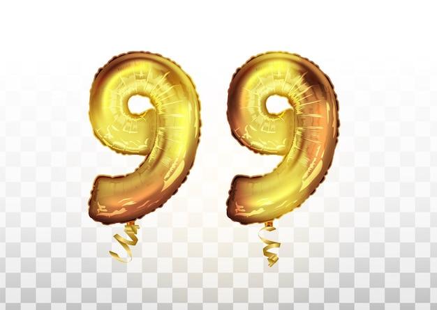 Wektor złota folia numer 99 dziewięćdziesiąt dziewięć balon metaliczny. strona dekoracji złote balony. znak rocznicy na szczęśliwe wakacje, uroczystości, urodziny