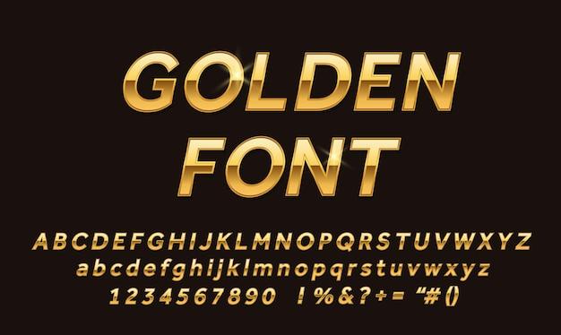 Wektor złote czcionki alfabetu