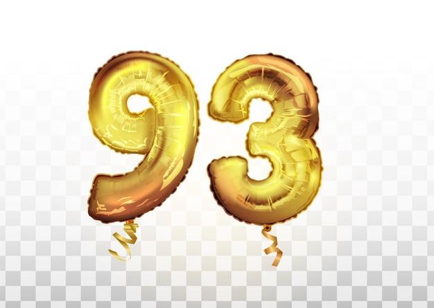 Wektor złotej folii numer 93 dziewięćdziesiąt trzy metaliczny balon. strona dekoracji złote balony. znak rocznicy na szczęśliwe wakacje, uroczystości, urodziny