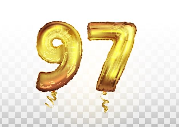 Wektor złotej folii numer 97 dziewięćdziesiąt siedem metaliczny balon. strona dekoracji złote balony. znak rocznicy na szczęśliwe wakacje, uroczystości, urodziny