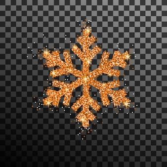 Wektor złoty błyskotek płatek śniegu