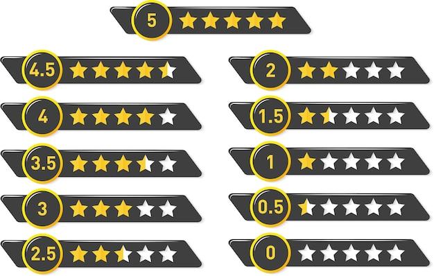 Wektor złoty błyszczący ocena od 5 do 0 gwiazdek zestaw elementów projektu do oceny gwiazdek