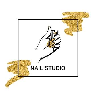 Wektor złoty emblemat z kobiecą ręką w modnym minimalistycznym stylu liniowym. logo dla salonu kosmetycznego lub manikiurzystki. szablon do pakowania kremu do rąk lub lakieru do paznokci, paznokci, mydła, sklepu kosmetycznego.