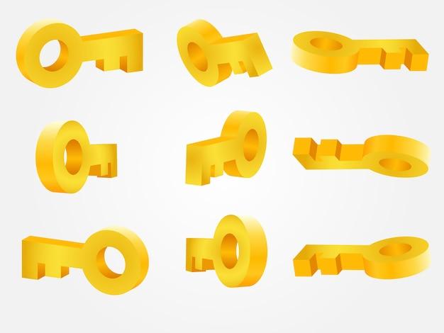 Wektor złoty klucz pod różnymi kątami