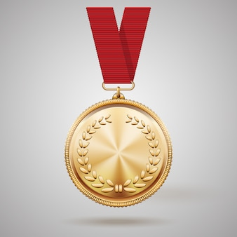 Wektor złoty medal na czerwonej wstążce z reliefem wieńca laurowego i odbiciami nagrody za zwycięstwo, zdobywając pierwsze miejsce