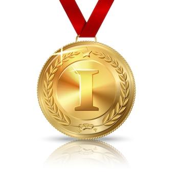 Wektor złoty medal za pierwsze miejsce z czerwoną wstążką, na białym tle z odbiciem. wektor