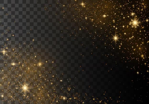 Wektor złoty musujący ogon komety.