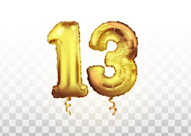 Wektor złoty numer 13 trzynaście wykonany z nadmuchiwanego balonu na białym tle na białym tle sztuki. obchody 13 lat urodziny wektor ilustracja 3d.