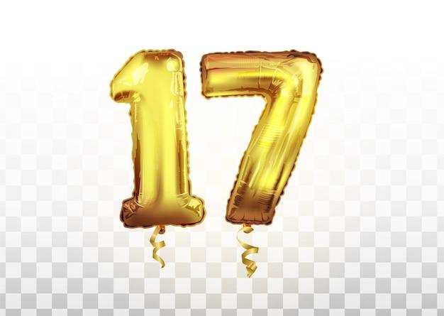 Wektor złoty numer 17 siedemnaście balon metaliczny. strona dekoracji złote balony. rocznica znak na szczęśliwe wakacje, uroczystości