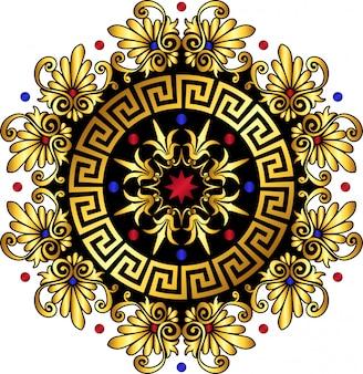 Wektor złoty ornament grecki meander