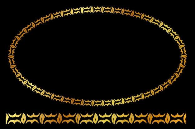 Wektor złoty owalny kwiatowy rama, na czarnym tle