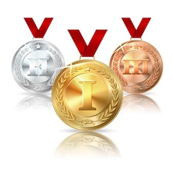 Wektor złoty, srebrny i brązowy medal