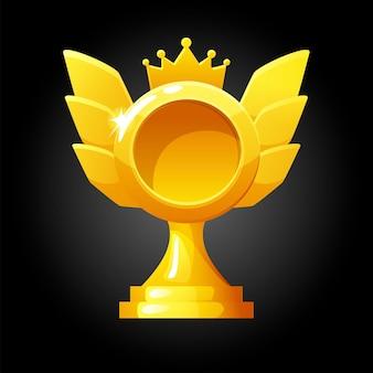 Wektor złoty szablon nagrody dla gry. nagroda w postaci korony dla zwycięzcy.