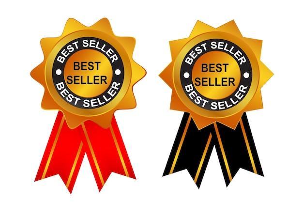 Wektor złoty znaczek lub tag, bestseller z czarną i czerwoną wstążką