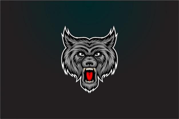 Wektor zły szary wilk