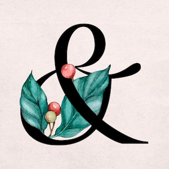 Wektor znak ampersand kwiatowy vintage zdobione typografii