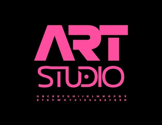 Wektor znak kreatywny art studio jasny kolor różowy czcionki w stylu techno litery alfabetu i cyfry