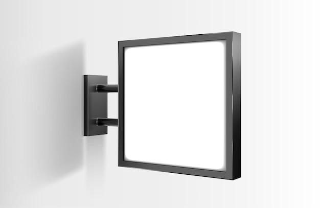 Wektor znak kwadrat deska makieta na białym tle na szarym tle. podświetlany lightbox na ścianie. led świetlna tablica reklamowa
