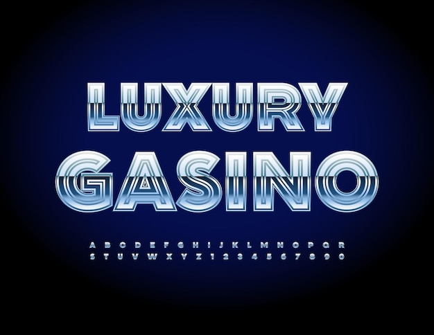 Wektor znak nowoczesny luksusowe kasyno srebrny błyszczący alfabet litery i cyfry elite metaliczna czcionka