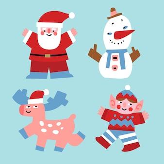 Wektor znaków bożego narodzenia święty mikołaj, bałwan, jelenie i elf rysowane w stylu płaski.