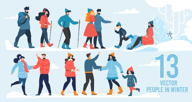 Wektor znaków ludzi w zimowej scenerii płaski zestaw