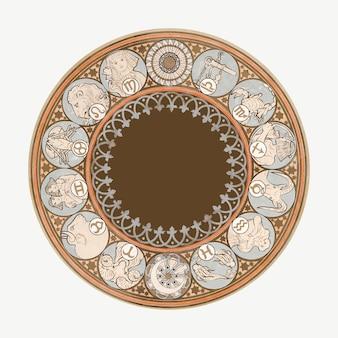 Wektor znaków zodiaku w stylu secesyjnym, zremiksowany z dzieł alphonse marii mucha