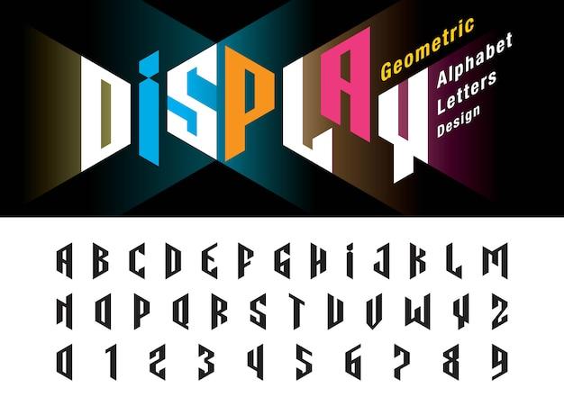 Wektor zniekształcać nowoczesne litery i cyfry alfabetu, minimalistyczny projekt czcionki