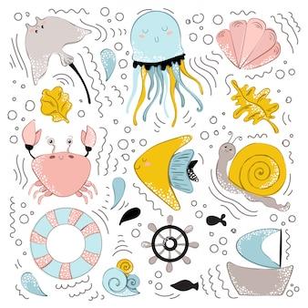 Wektor zwierzęta morskie