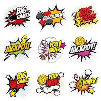 Wektor zwycięskie naklejki bańki gry w stylu retro komiks pop-artu