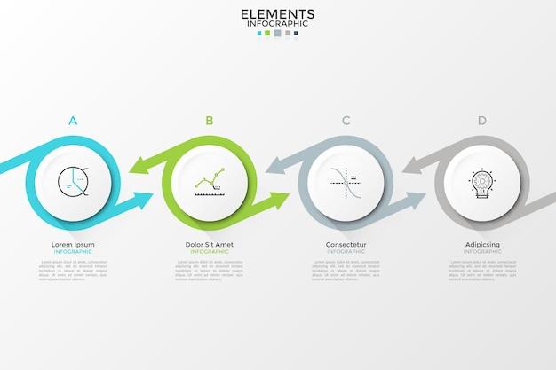 Wektora infographic szablon z białymi kółkami i kolorowe strzałki. może być używany do prezentacji baneru, układu przepływu pracy, diagramu procesu, schematu blokowego, wykresu informacyjnego, osi czasu lub strony internetowej