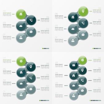Wektora infographic zestaw wzorów z elipsami 5 i 8 opcji