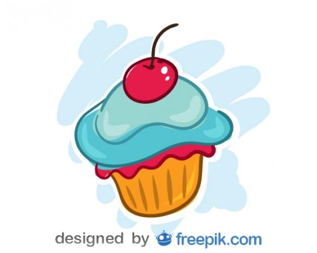 Wektora projektowania wiśnia cupcake