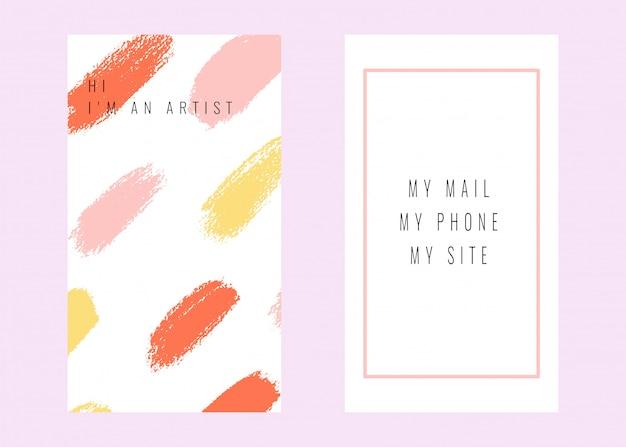 Wektorowa abstrakcjonistyczna wizytówka z ręki rysować teksturami.