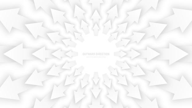 Wektorowa biała 3d strzała abstrakcjonistyczna konceptualna ilustracja