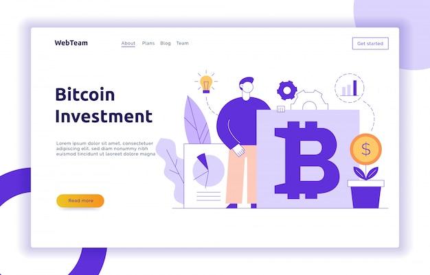 Wektorowa bitcoin inwestorska nowożytna płaska linia ilustracja