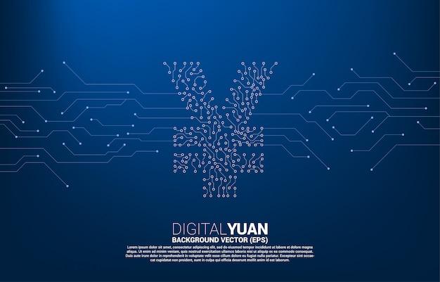 Wektorowa cyfrowa juan waluty pieniądze ikona od obwodu kropki stylu kropki łączy linię. koncepcja gospodarki cyfrowej waluty chińskiej i połączenia finansowego sieci.
