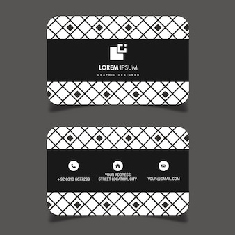Wektorowa czarny i biały geometryczna deseniowa wizytówka