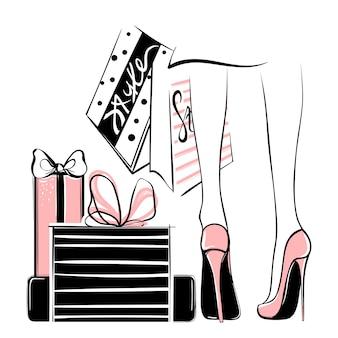 Wektorowa dziewczyna w szpilkach otaczających torba na zakupy, prezentów pudełka