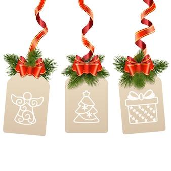 Wektorowa etykieta świąteczna na białym tle