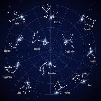 Wektorowa gwiazda nieba z gwiazdozbiorami gwiazd
