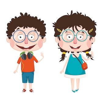 Wektorowa ilustracja abstrakcjonistyczni dzieci