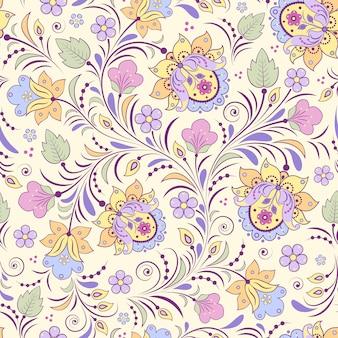 Wektorowa ilustracja bezszwowy wzór z abstrakcjonistycznymi kwiatami