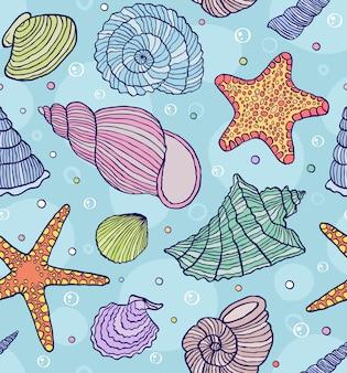 Wektorowa ilustracja bezszwowy wzór z ocean skorupami